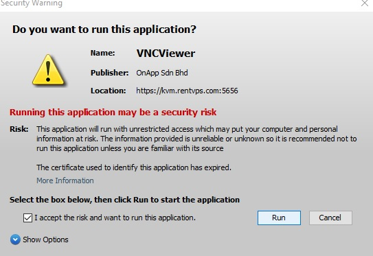 VNC Java Accept Risk then Run